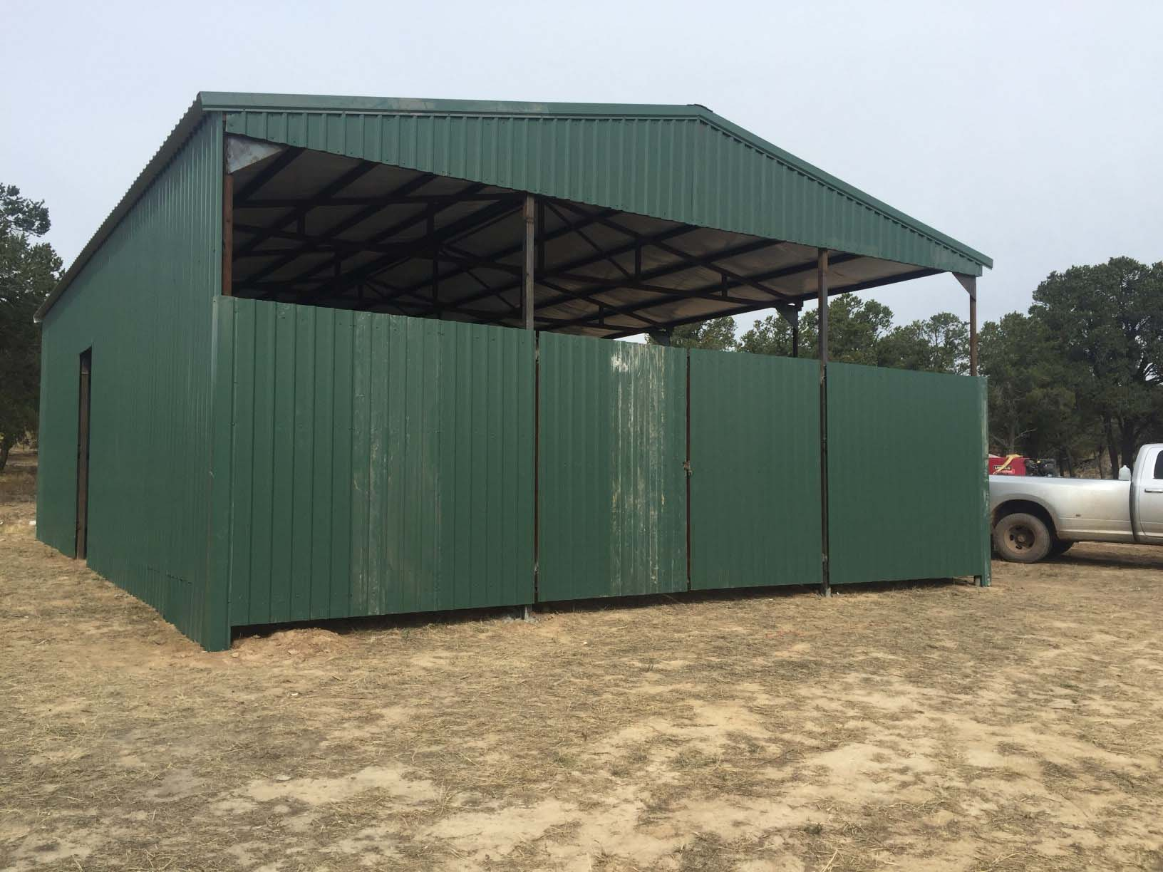 Green pole barn neds pipe and steel for Steel barn structures